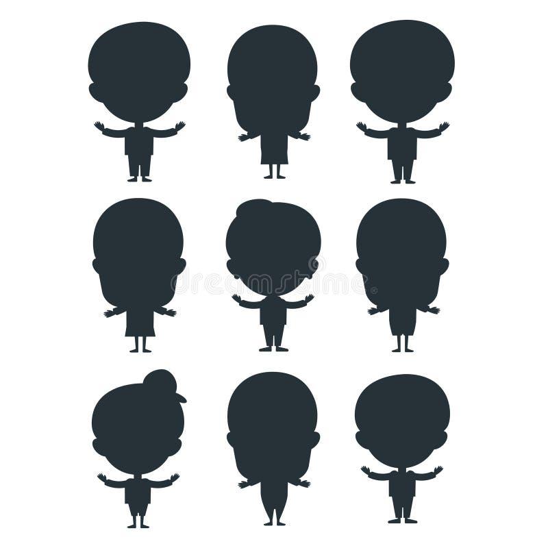 I bambini profilano l'illustrazione sveglia di vettore del bambino del personaggio dei cartoni animati dell'adolescente di giovan illustrazione di stock