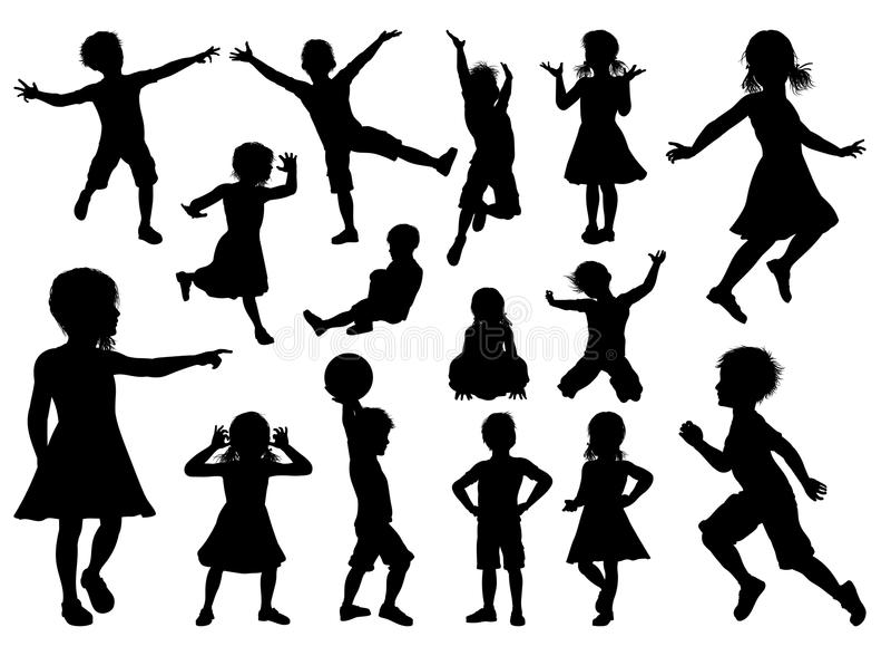 I bambini profilano l'insieme illustrazione di stock