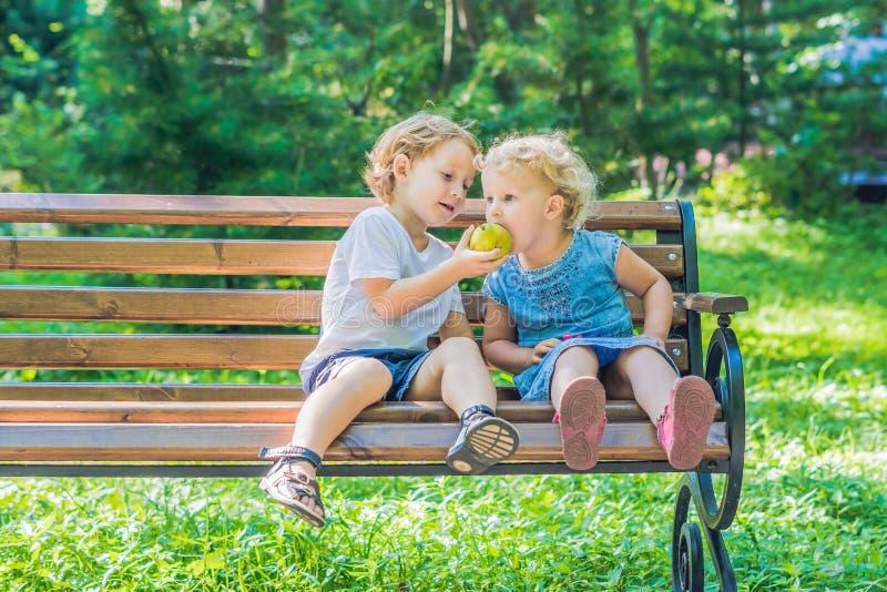 I bambini ragazzo e ragazza che si siedono su un banco dal mare e mangiano una mela fotografia stock libera da diritti
