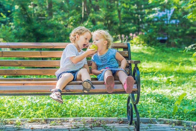 I bambini ragazzo e ragazza che si siedono su un banco dal mare e mangiano una mela immagine stock libera da diritti