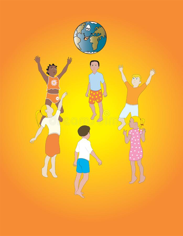 I bambini rendono il mondo felice immagine stock libera da diritti