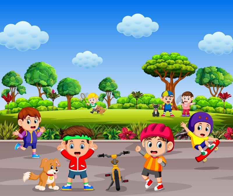 I bambini sono giocanti e facenti lo sport insieme nella strada illustrazione vettoriale