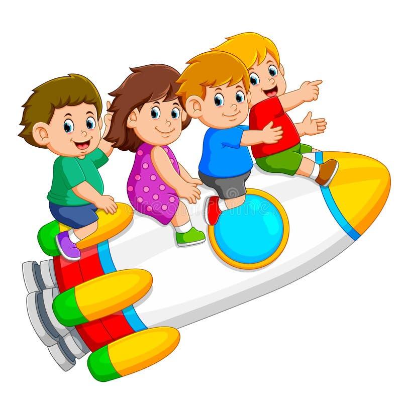 i bambini sono giocanti ed entranti nel razzo variopinto illustrazione di stock