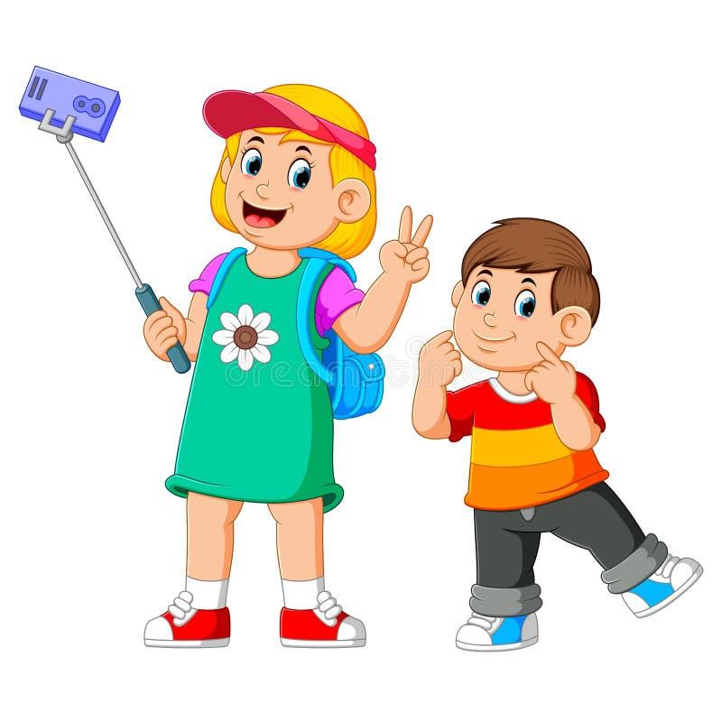 i bambini sono posanti e prendenti un selfie insieme illustrazione vettoriale