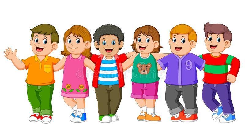 I bambini sono stanti e posanti con i loro amici insieme illustrazione vettoriale