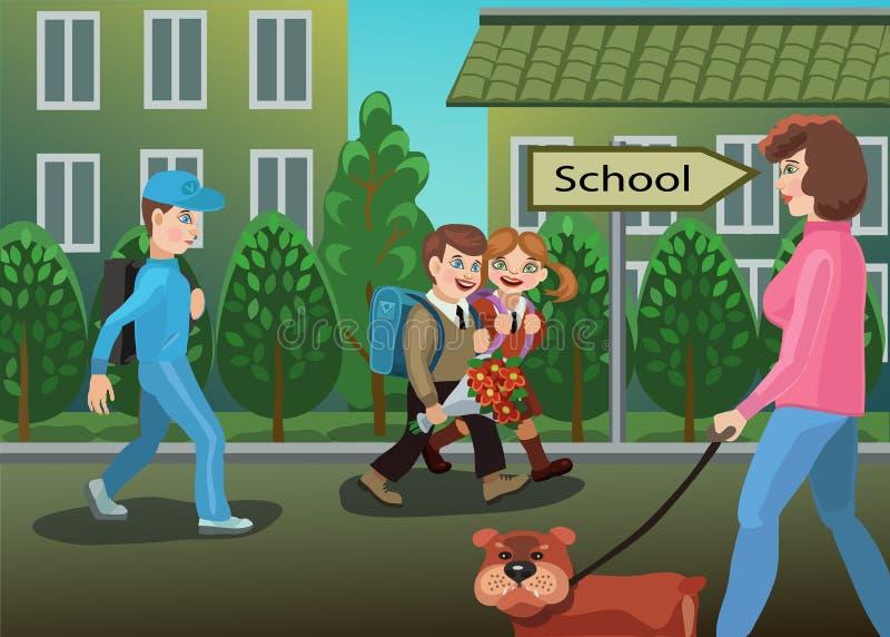 I bambini sono sul modo alla scuola illustrazione vettoriale