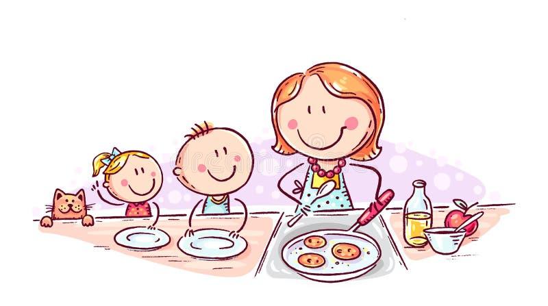 I bambini stanno aspettando i pancake che la madre sta cucinando, che scarabocchia il disegno illustrazione vettoriale