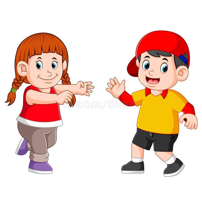 i bambini stanno ballando insieme al fronte felice illustrazione di stock