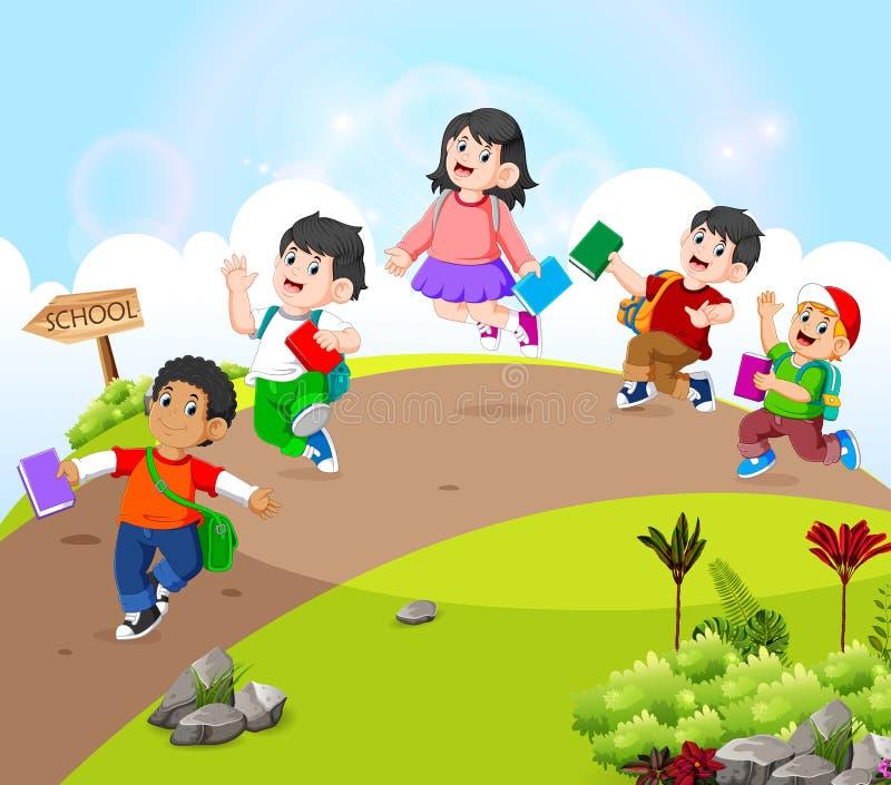I bambini stanno camminando sulla strada vanno a scuola royalty illustrazione gratis