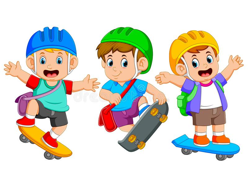 i bambini stanno giocando il bordo del pattino con la posa differente royalty illustrazione gratis
