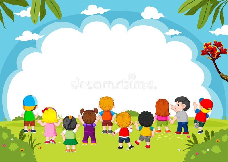 I bambini stanno giocando insieme all'insegna in bianco ed alla buona vista illustrazione vettoriale