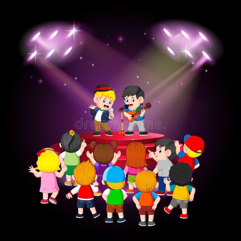 i bambini stanno godendo della prestazione degli amici illustrazione vettoriale