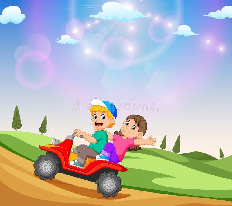I bambini stanno guidando il ATV con la bella vista illustrazione di stock