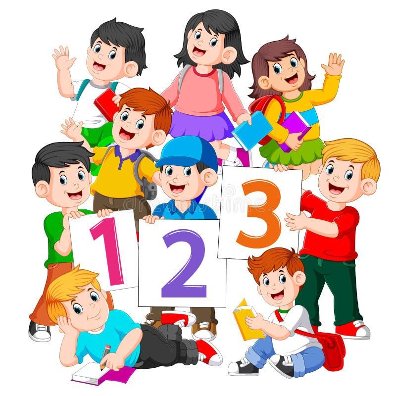 i bambini stanno tenendo il libro ed il bordo di numero illustrazione vettoriale