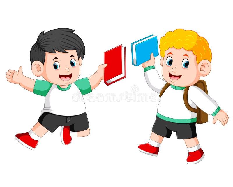 i bambini stanno tenendo insieme il loro libro e stanno saltando  illustrazione di stock