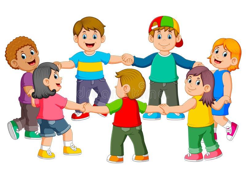 i bambini stanno tenendo l'un l'altro per la fabbricazione del giro illustrazione vettoriale