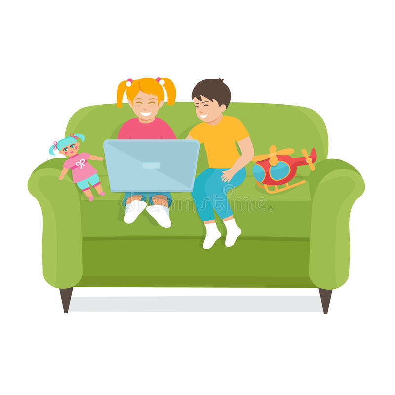 I bambini utilizzano un computer portatile che si siede sullo strato illustrazione vettoriale