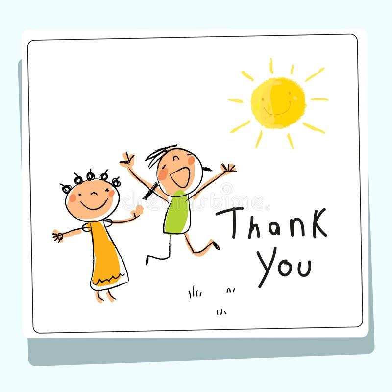 I bambini vi ringraziano cardare royalty illustrazione gratis