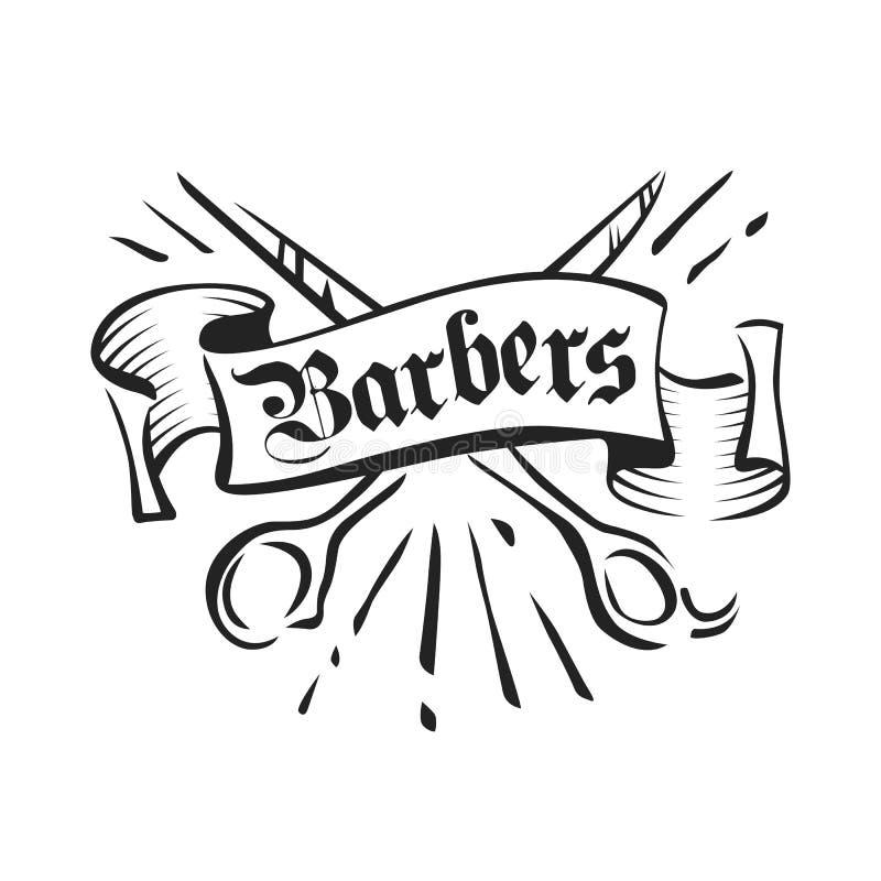 I barbieri d'annata vector l'emblema, il distintivo, il segno, disposizione dell'autoadesivo Forbici ed illustrazione dell'inchio illustrazione di stock