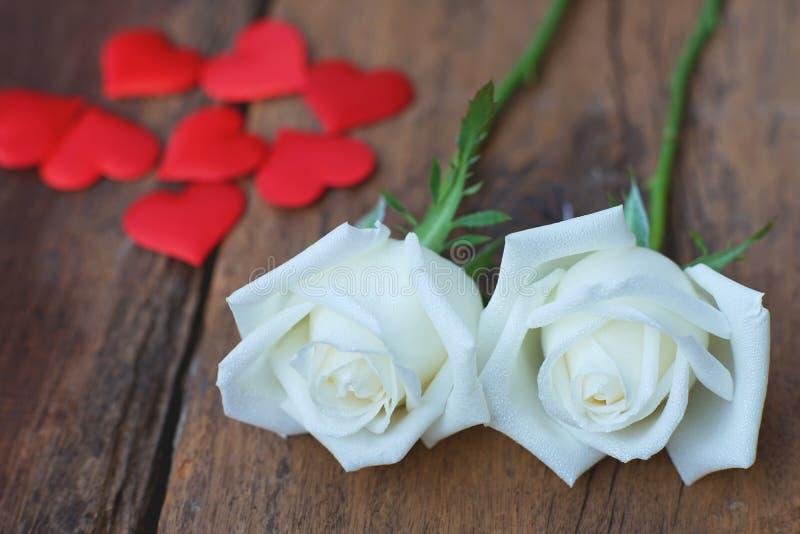 I bei fiori rosa umidi freschi bianchi decorati con mini cuore rosso dipende il fondo di legno di struttura, biglietto di S. Vale immagini stock libere da diritti