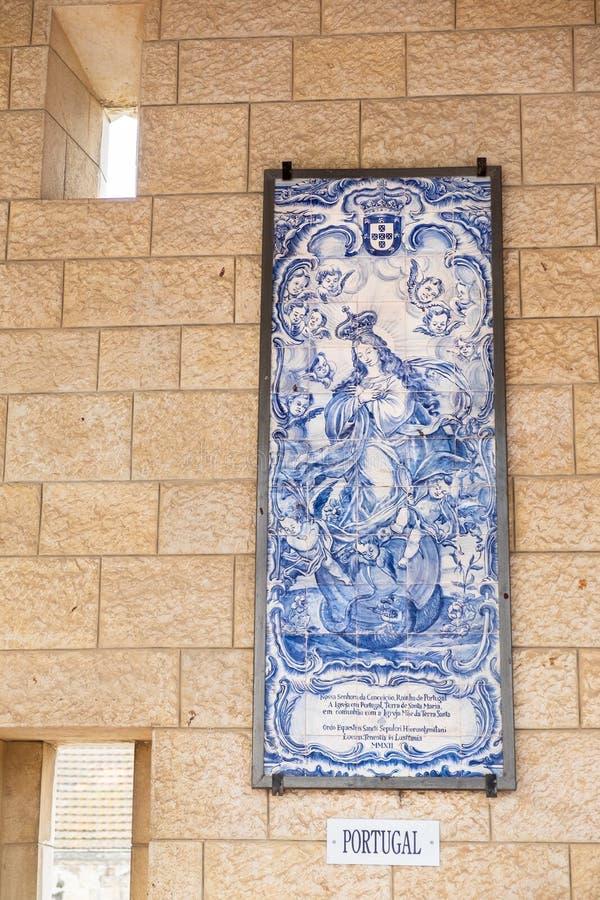 I bei mosaici dell'icona della madre di Dio e del gifte di Gesù del bambino immagine stock