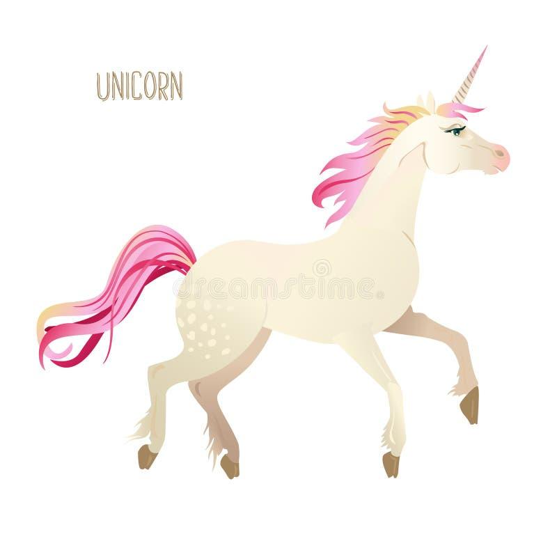 I bei unicorni dell'acquerello hanno messo nei colori rosa e porpora Illustrazione di vettore royalty illustrazione gratis