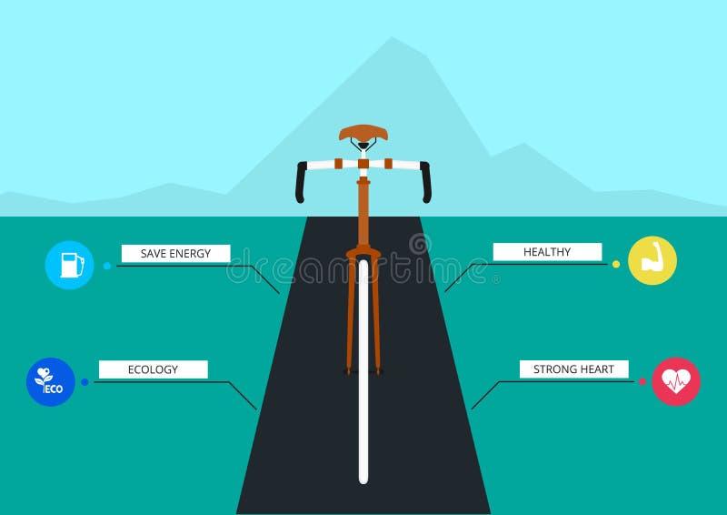 I benefici di riciclaggio Modello di infographics della bicicletta illustrazione di stock