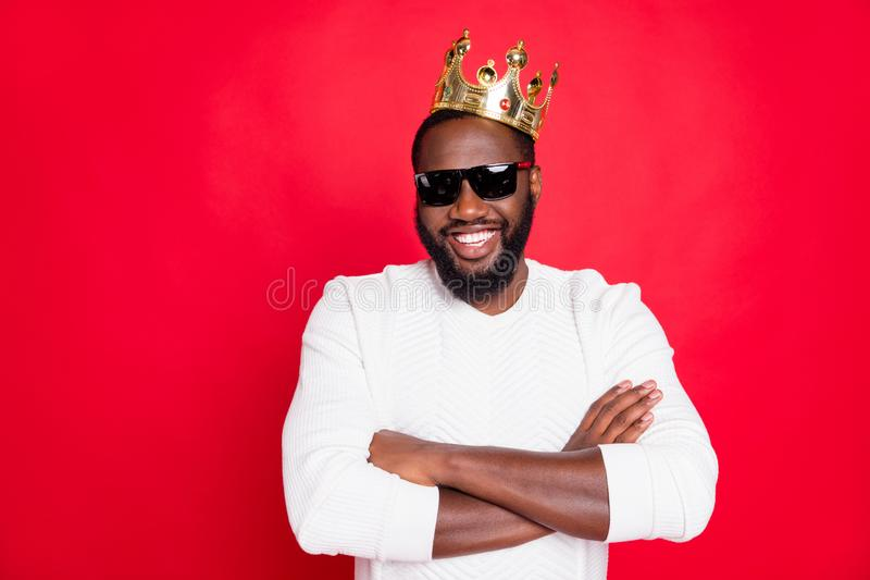 I am best. Portrait of confident afro american brown hair guy cross hands in eyeglasses arrogant achieve million dollars. I am best. Portrait of confident afro royalty free stock images