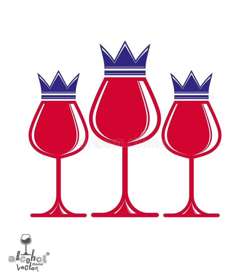 I bicchieri di vino di lusso eleganti con re incoronano, vec artistico grafico illustrazione di stock