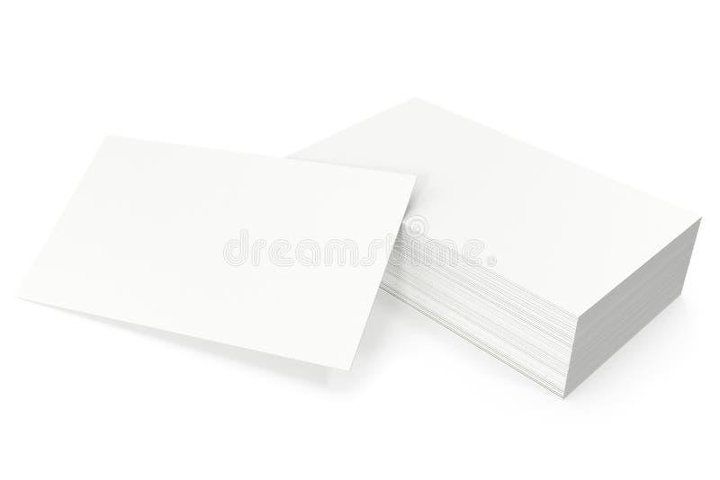 I biglietti da visita soppressione il modello, modello, su fondo bianco, rappresentazione 3d immagini stock libere da diritti