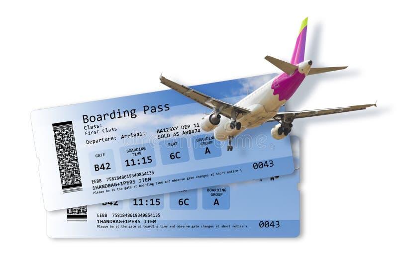 I biglietti del passaggio di imbarco di linea aerea isolati su materiale illustrativo bianco- sulla fusoliera completamente è inv immagine stock