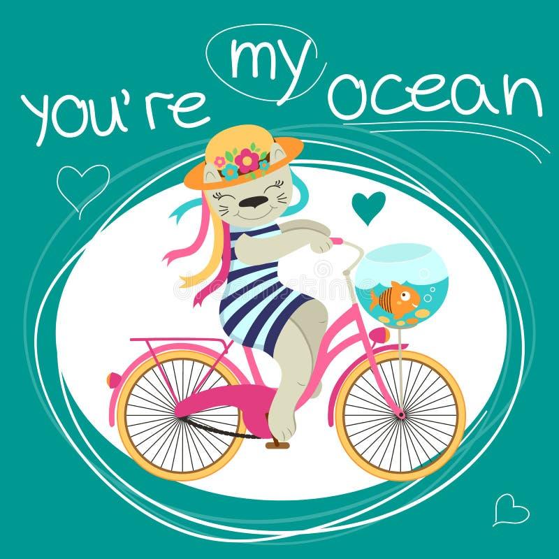 I biglietti di S. Valentino cardano con il gatto sulla bici e sul pesce circa amore illustrazione vettoriale