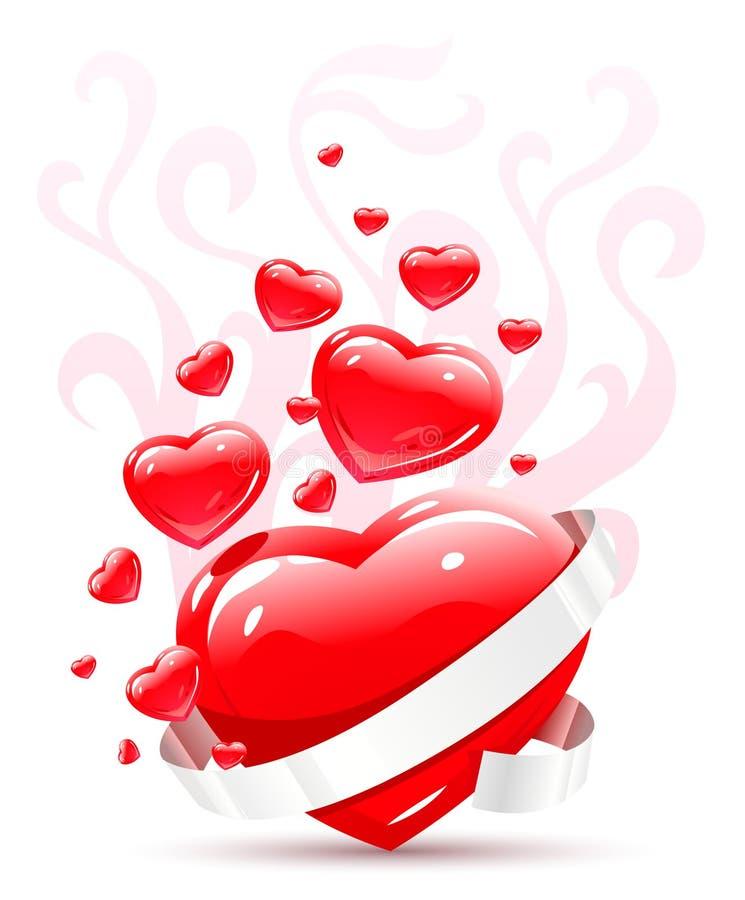 I biglietti di S. Valentino ornano con il cuore rosso di amore royalty illustrazione gratis