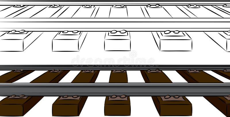 I binari ferroviari di un punto illustrazione vettoriale