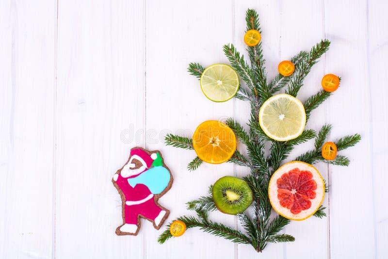 I biscotti casalinghi del pan di zenzero lustrati e l'albero di Natale si ramifica con i frutti fotografia stock