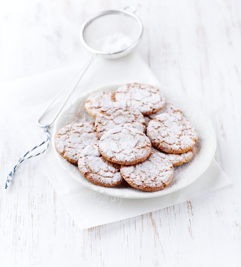 I biscotti Crunchy hanno impolverato con lo zucchero a velo fotografia stock libera da diritti