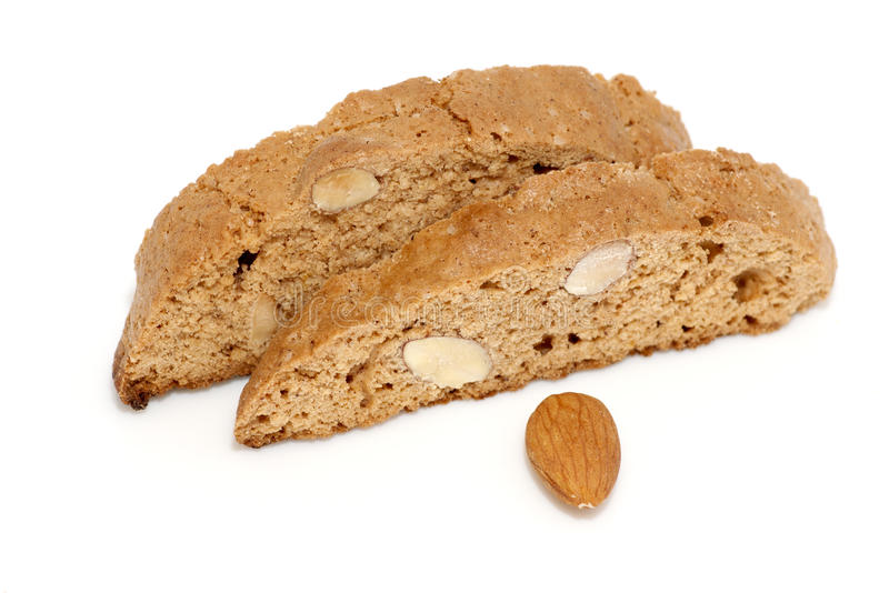 I biscotti deliziosi di cantuccini si chiudono su fotografie stock
