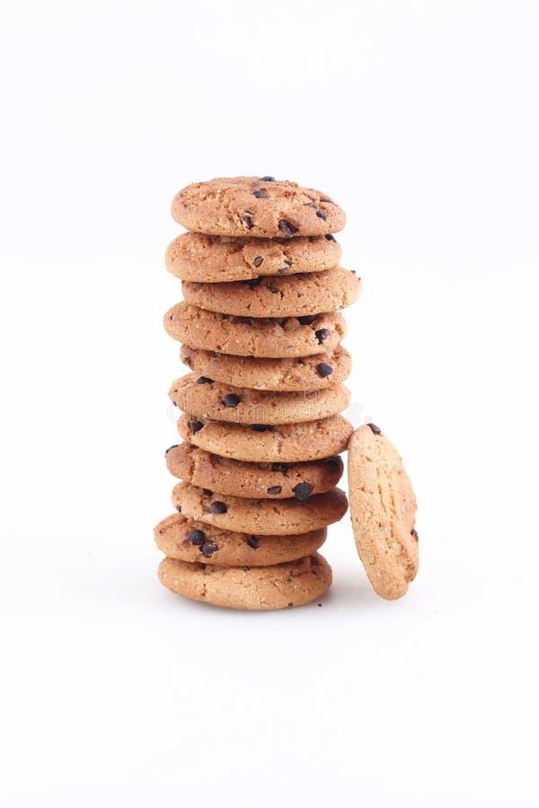 I biscotti di farina d'avena con di pepita di cioccolato hanno imballato nello scorrevole immagini stock libere da diritti