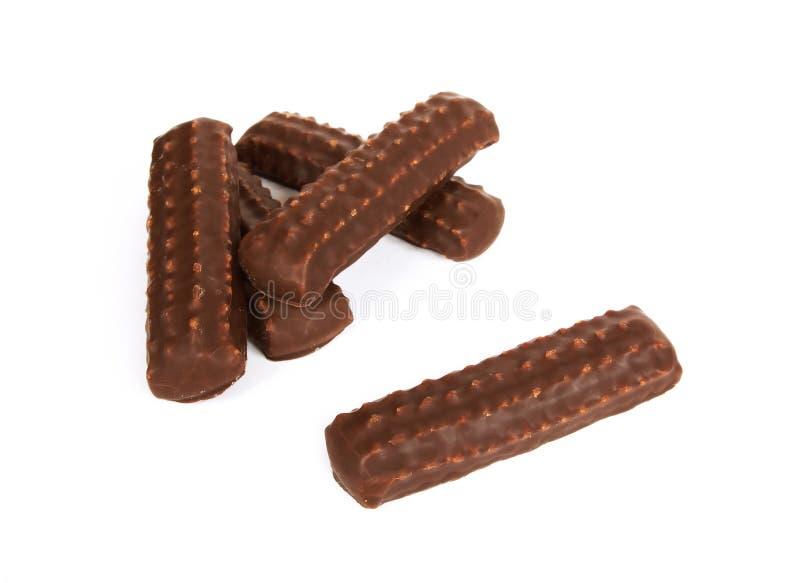 I biscotti hanno lustrato il cioccolato immagini stock