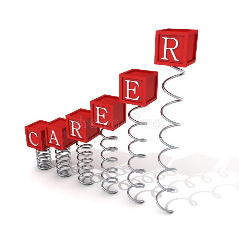 I blocchetti rossi della scala della barra di carriera di concetto sulla molla si sviluppa a spirale illustrazione di stock