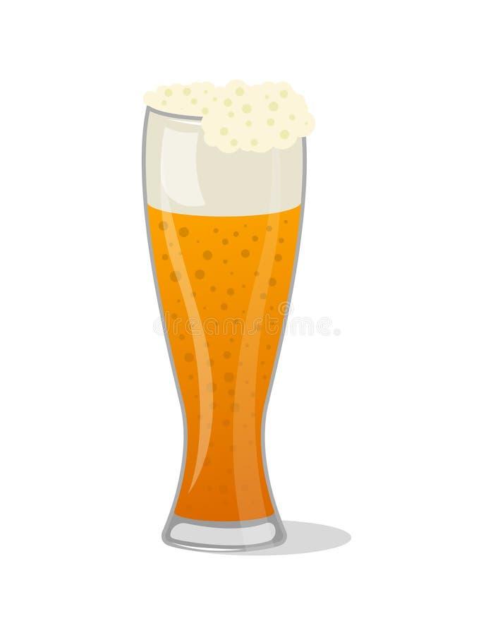 I boccali con coperchio di vetro della pinta della birra schiumosa hanno isolato l'icona illustrazione di stock