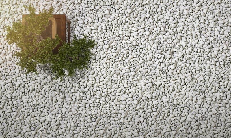 i bonsai della rappresentazione 3d in zen giapponese fanno il giardinaggio con ghiaia ed il ciottolo su fondo illustrazione vettoriale