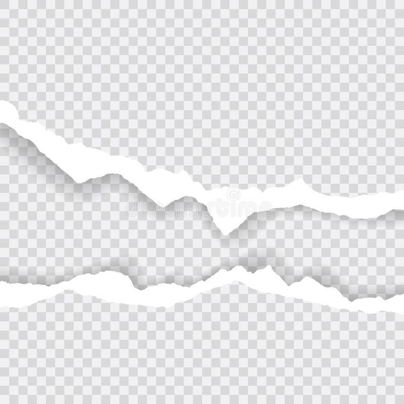 I bordi di carta lacerati, fondo senza cuciture strutturano orizzontalmente, vettore isolati nello spazio per la pubblicità, inse illustrazione vettoriale