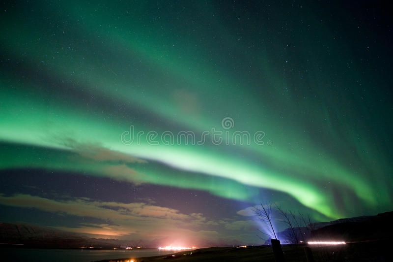 Aurora Borealis in Islanda fotografia stock libera da diritti
