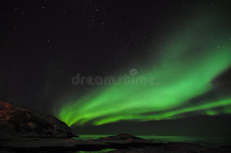 Aurora stupefacente ed il fiordo fotografie stock
