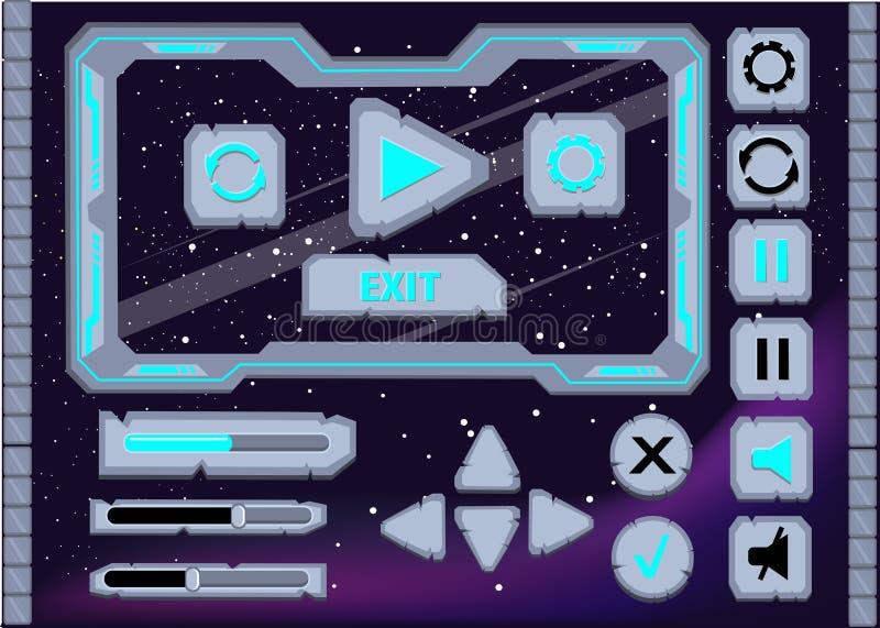 I bottoni dell'interfaccia dell'interfaccia utente di progettazione del gioco dell'interfaccia hanno messo per il ui dei giochi o illustrazione vettoriale
