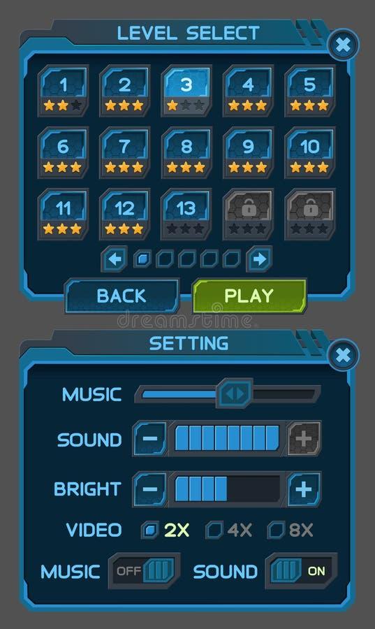 I bottoni dell'interfaccia hanno messo per i giochi o i apps dello spazio royalty illustrazione gratis