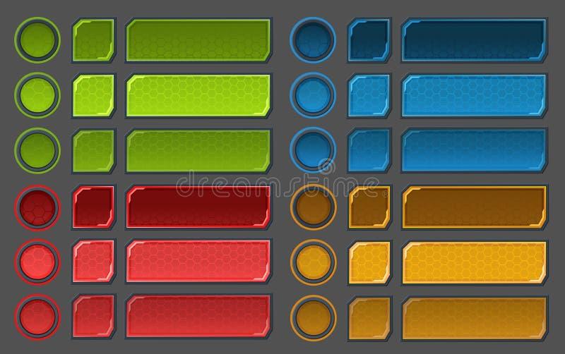 I bottoni dell'interfaccia hanno messo per i giochi o i apps dello spazio illustrazione vettoriale