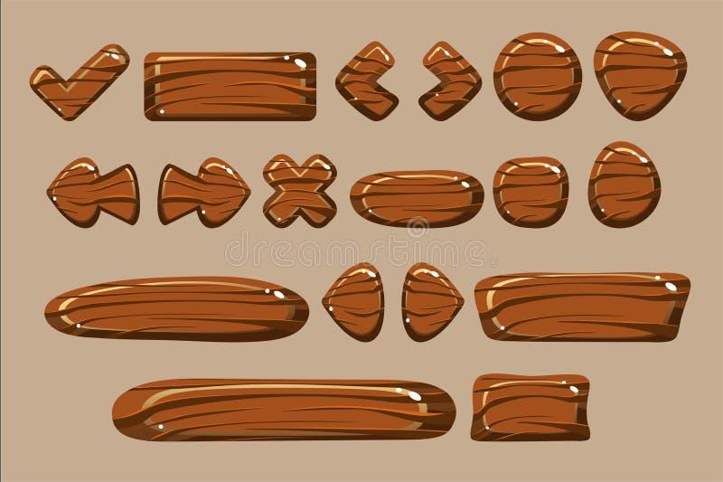 I bottoni di legno delle forme differenti hanno messo, dettagli per i giochi di computer, vettore dell'illustrazione di vettore d illustrazione di stock