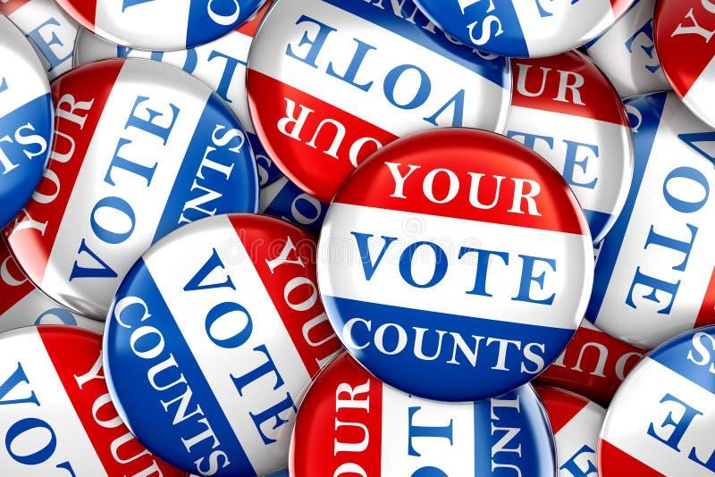 I bottoni di voto con il vostro voto conta illustrazione vettoriale